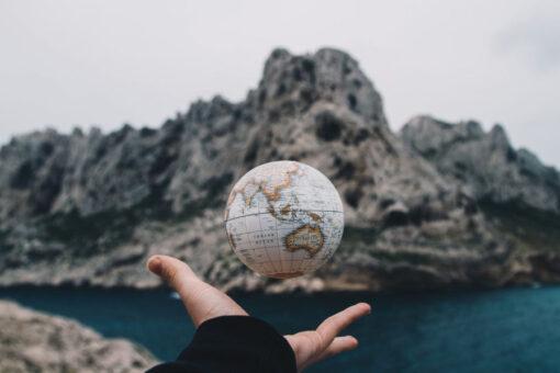 Floating planet Earth globe