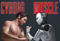 Muscular man armwrestling a robot android