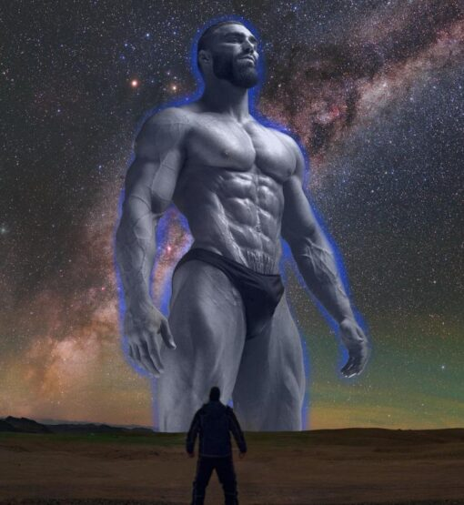 Gigantic masculine man, exaggerated
