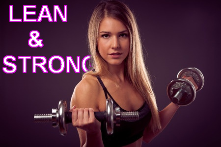 A fitness girl lifting dumbbells with a purple background