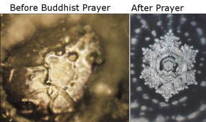 Two different water molecules changed from Buddhist prayer.