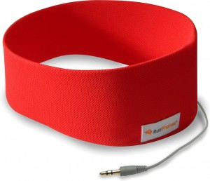 Pair of red SleepPhones for working out